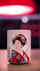 Taza con decoración japonesa