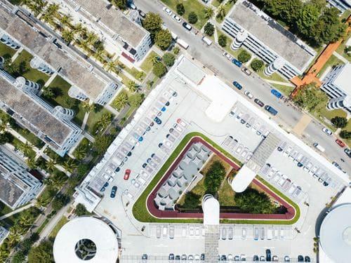 vista desde el aire de un barrio